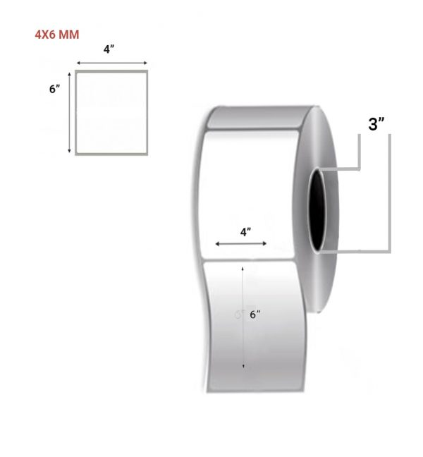 """Direct Thermal Barcode Label 4"""" X 6"""" - 1 Across (1.5"""" Core & 3"""" Core) - Pack Size 5000 labels"""